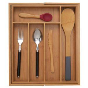 Bamsira Bamboo Kitchen Expandable Cutlery Tray