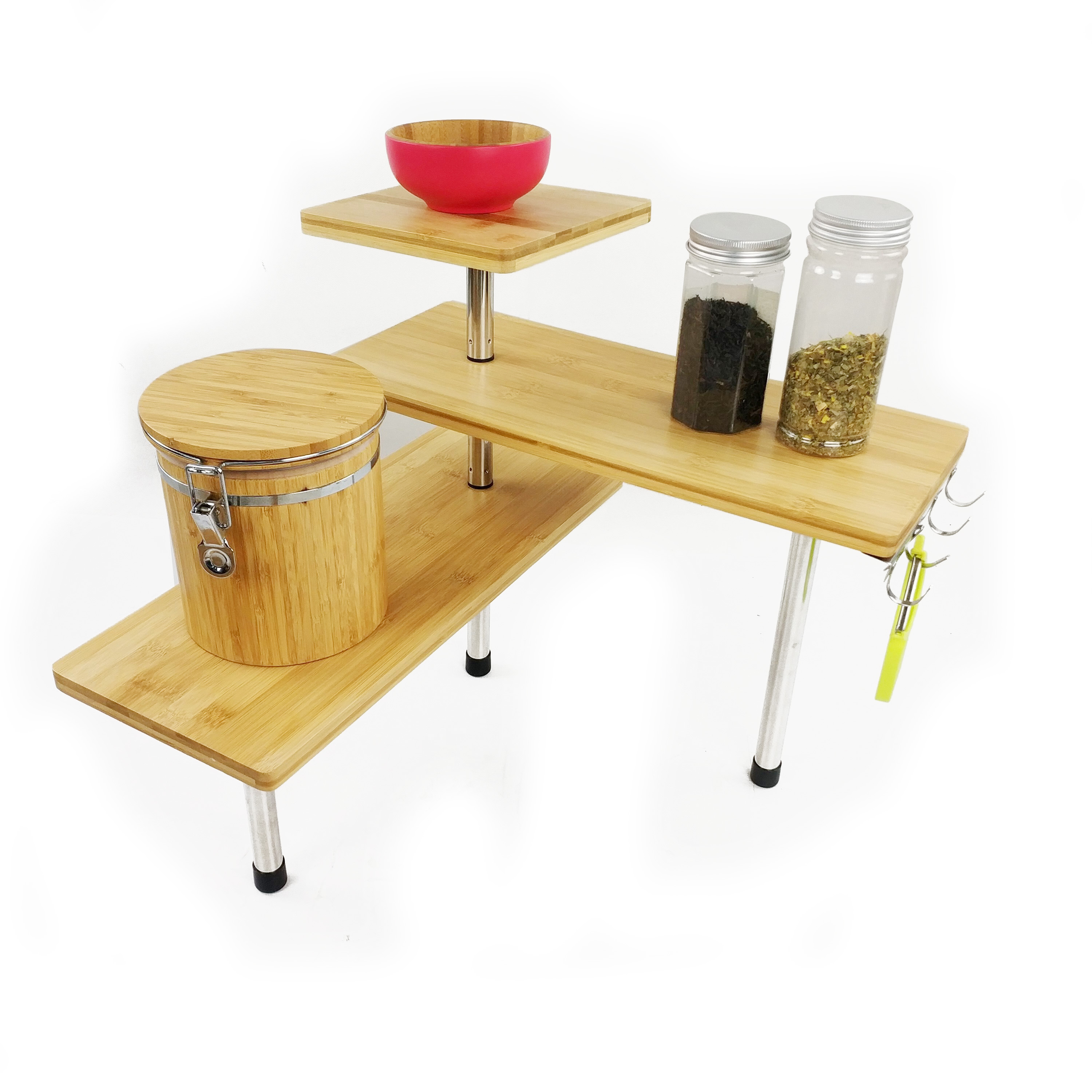 Bamboo expandable kitchen cabinet and counter shelf organizer