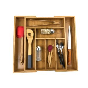 Bamboo Kitchen Drawer Organizer&Expandable Cutlery Tray